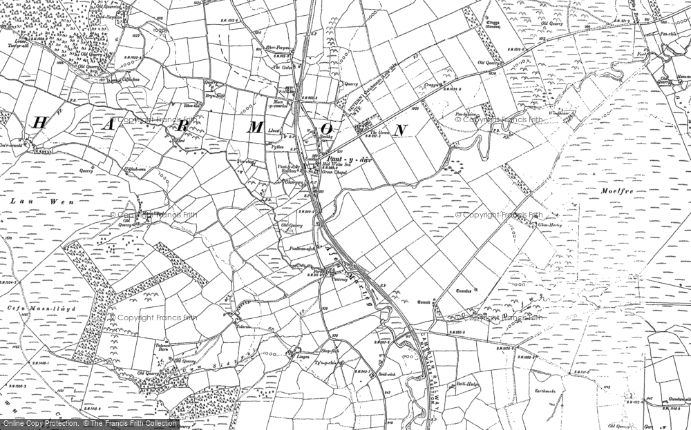 Old Map of Historic Map covering Afon Marteg in 1887