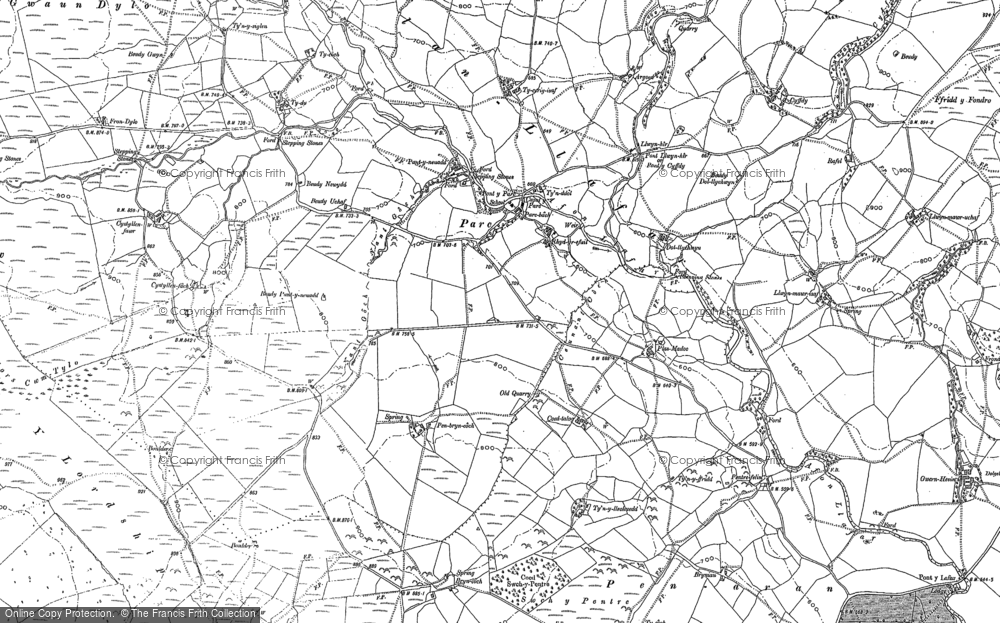 Old Map of Historic Map covering Afon Dylo in 1886