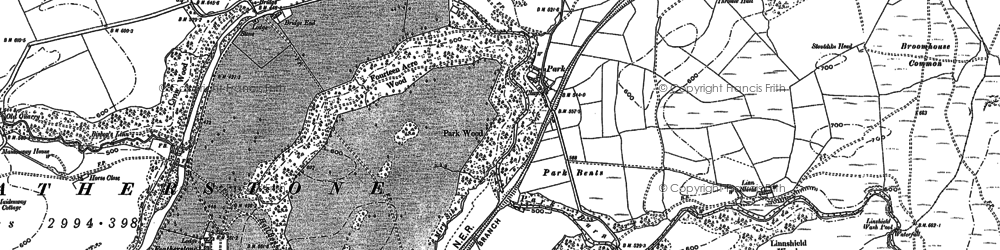 Old map of Wydon Eals in 1895