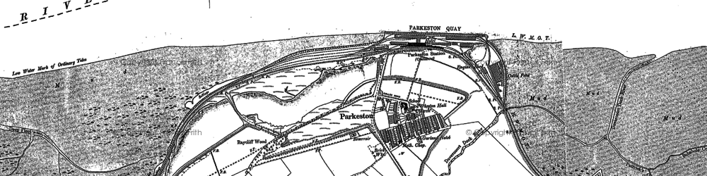 Old map of Parkeston in 1881