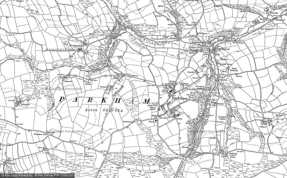 Old Map of Historic Map covering Babeleigh Barton in 1884