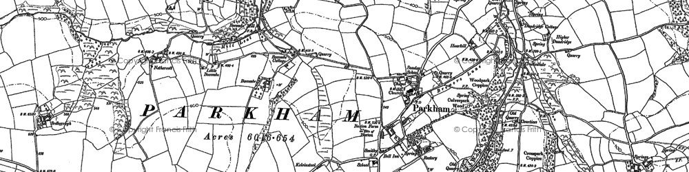 Old map of Babeleigh Barton in 1884