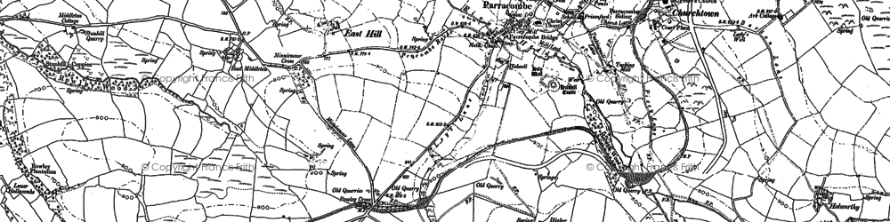 Old map of Parracombe in 1887