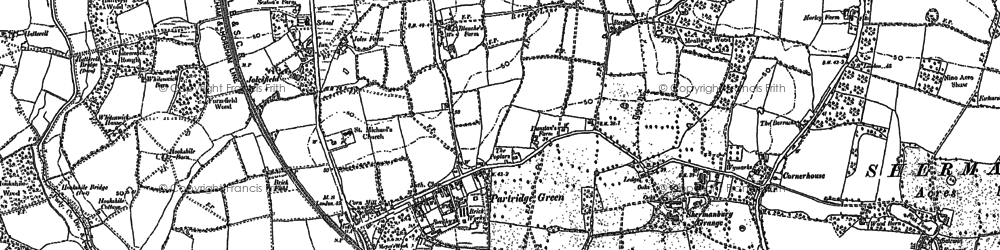 Old map of Partridge Green in 1896