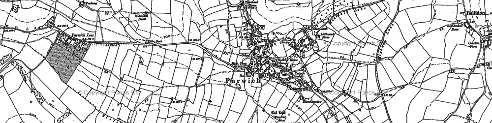Old map of Parwich in 1879