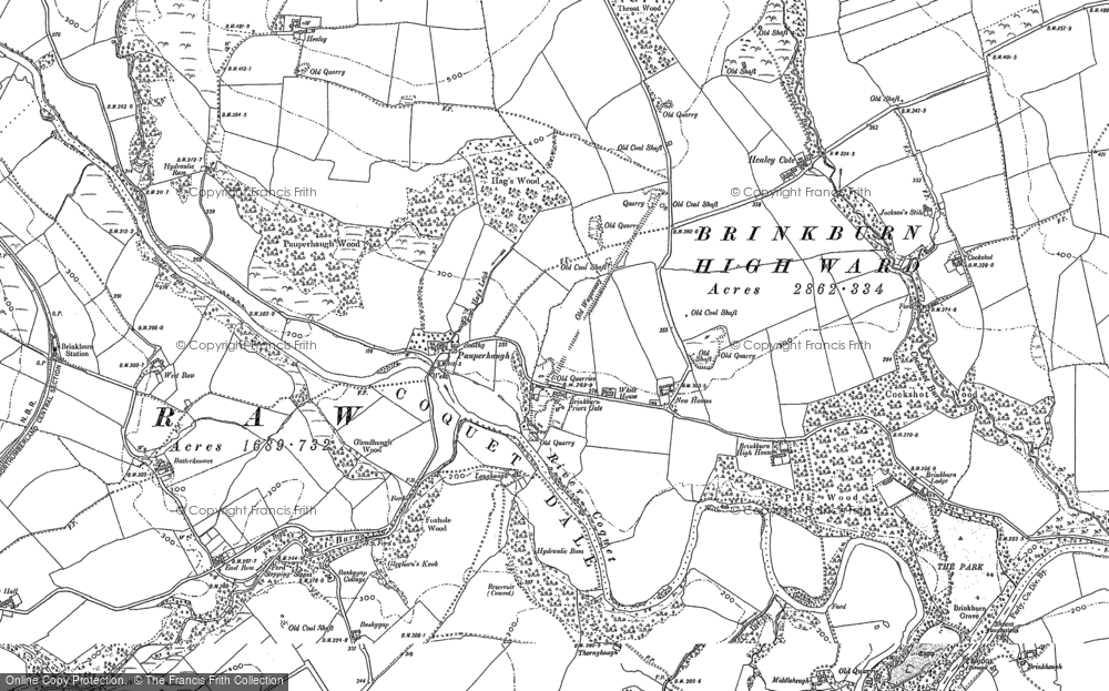Old Map of Historic Map covering Woodhead in 1896