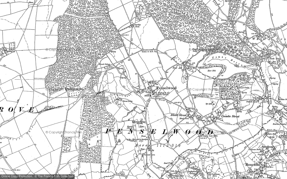 Old Map of Historic Map covering Ballands Castle in 1902