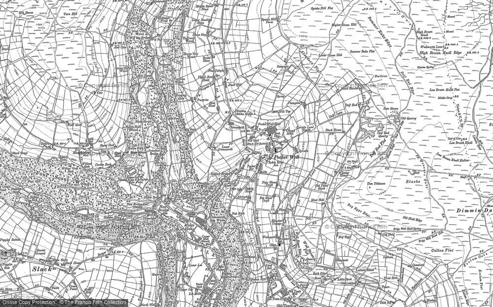 Old Map of Historic Map covering Abel Cross in 1892