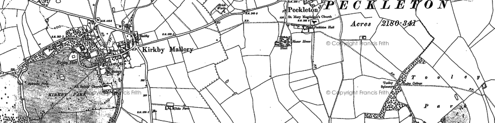 Old map of Tooley Spinneys in 1885