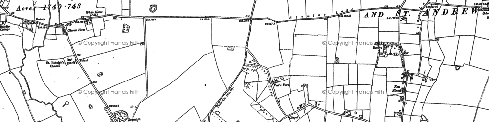 Old map of Whews, The in 1882