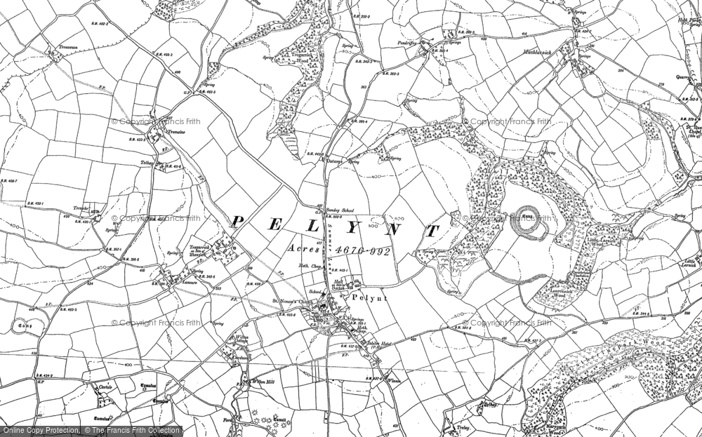 Old Map of Historic Map covering Bake Rings in 1881-1905