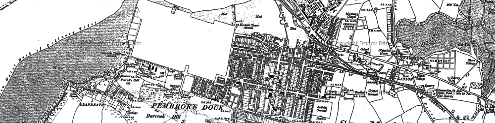 Old map of Pembroke Dock in 1906