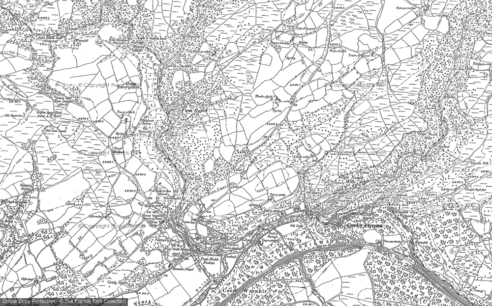 Old Map of Historic Map covering Afon Pyrddin in 1897