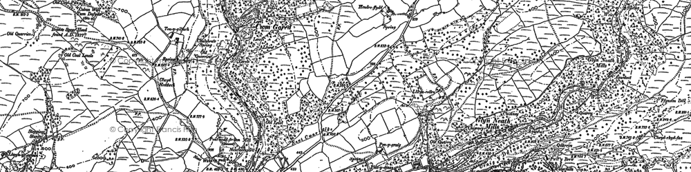 Old map of Afon Pyrddin in 1897