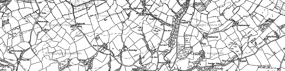 Old map of Afon Myddyfi in 1885