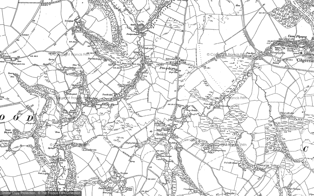 Old Map of Historic Map covering Afon Piliau in 1888