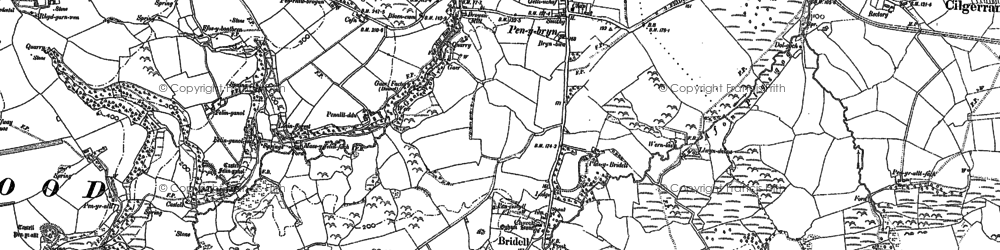 Old map of Afon Piliau in 1888