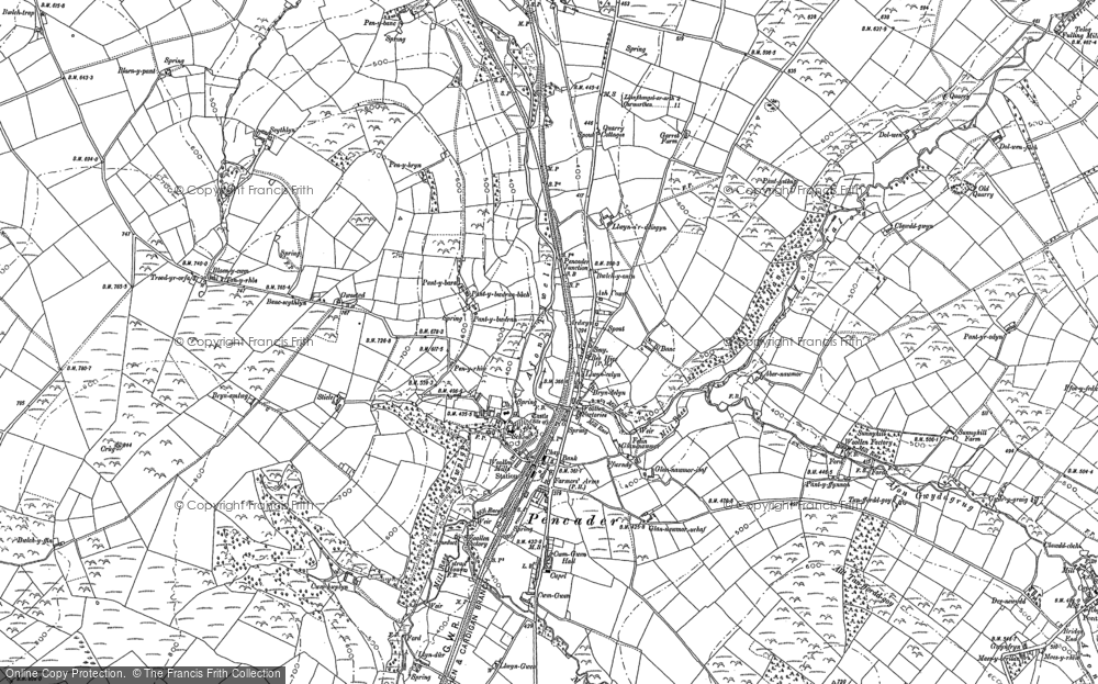 Old Map of Historic Map covering Afon Talog in 1887