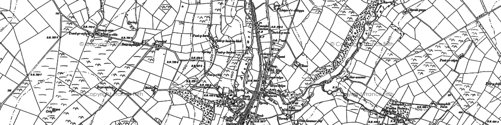 Old map of Afon Talog in 1887