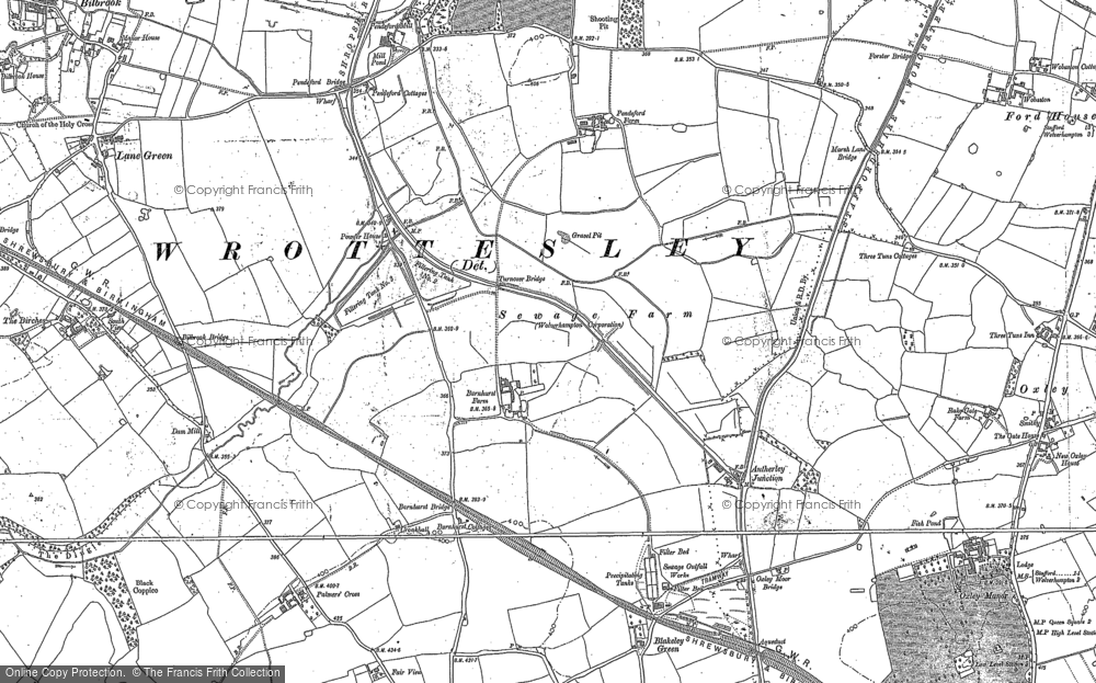 Old Map of Historic Map covering Lane Green in 1883