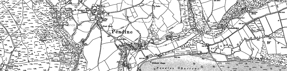 Old map of Pendine in 1905