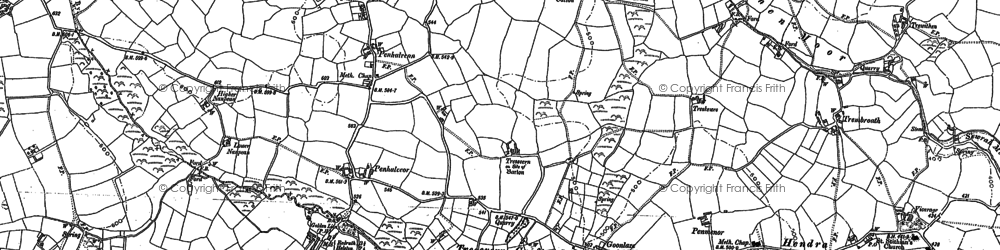 Old map of Penhalvean in 1878