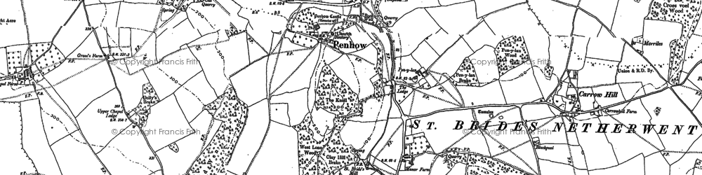 Old map of Penhow in 1900