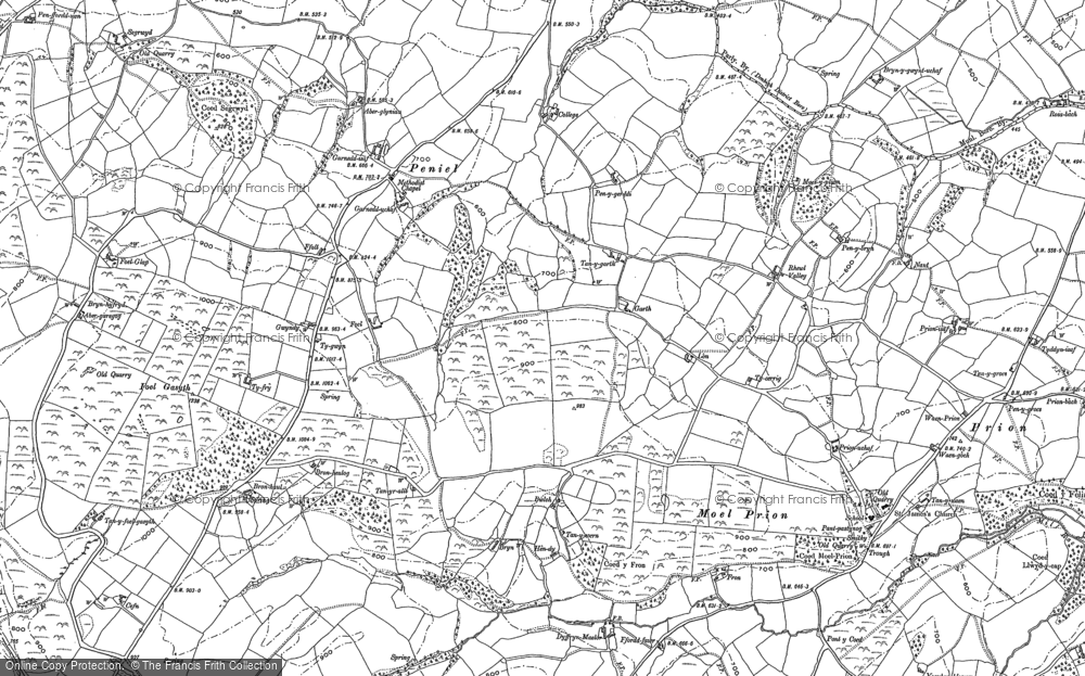 Old Map of Historic Map covering Afon Ystrad in 1898
