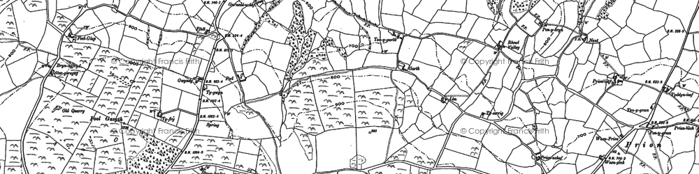 Old map of Afon Ystrad in 1898