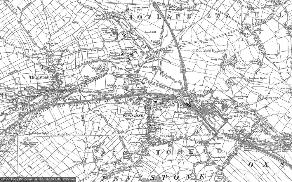 Old Map of Penistone, 1891 - 1892 in 1891