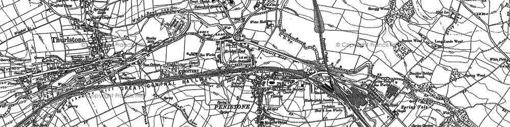 Old map of Penistone in 1891