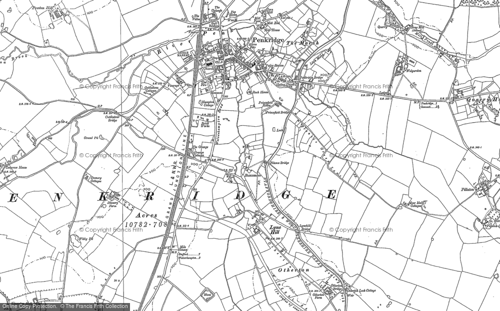 Old Map of Historic Map covering Bangley Park in 1882