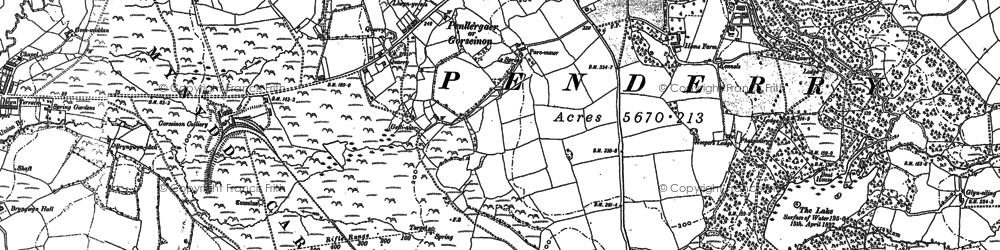 Old map of Penllergaer in 1905