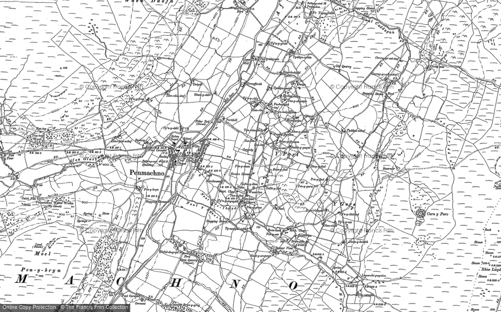 Old Map of Historic Map covering Afon Machno in 1888