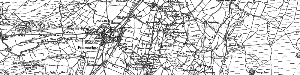 Old map of Afon Oernant in 1888