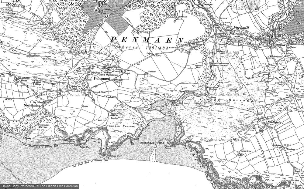 Old Map of Penmaen, 1896 in 1896