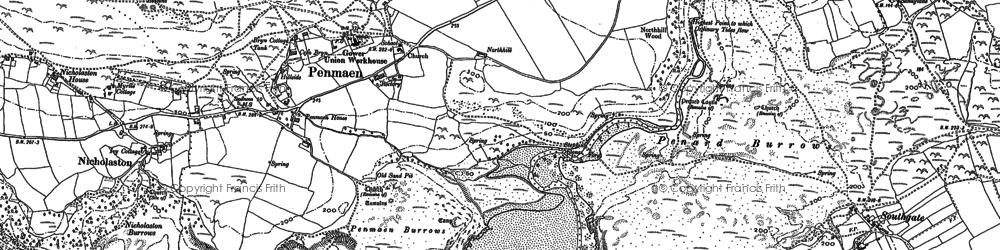 Old map of Penmaen in 1896
