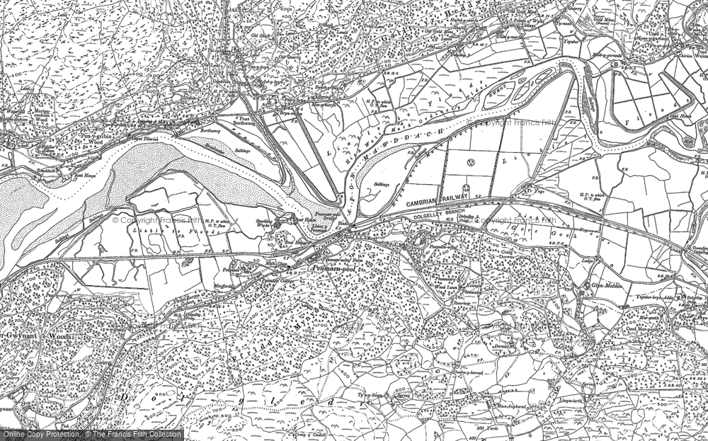 Old Map of Historic Map covering Afon Cwm-mynach in 1887