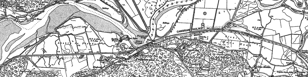 Old map of Afon Cwm-mynach in 1887