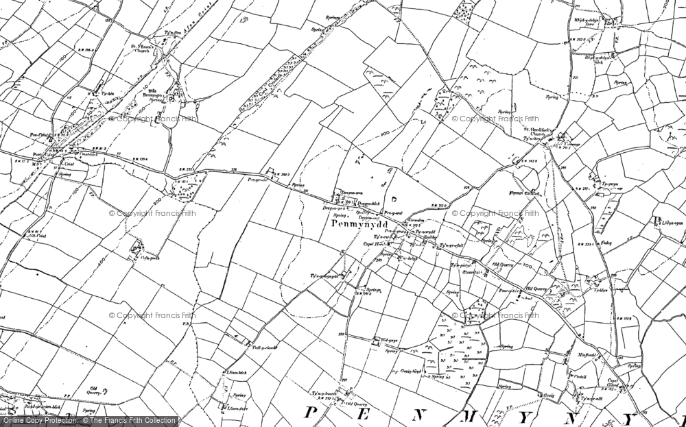 Old Map of Historic Map covering Y Dolydd in 1899