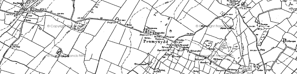 Old map of Y Dolydd in 1899