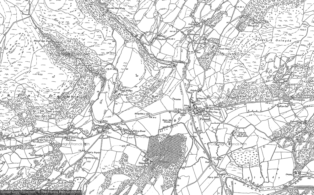 Old Map of Historic Map covering Afon Alice in 1887