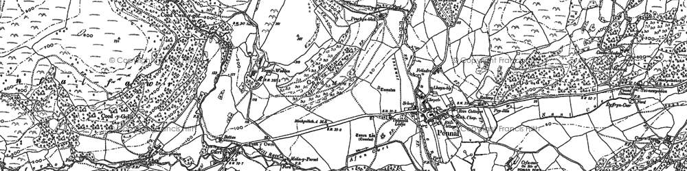 Old map of Pennal in 1887