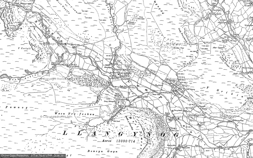 Old Map of Historic Map covering Aber Cysgod in 1900