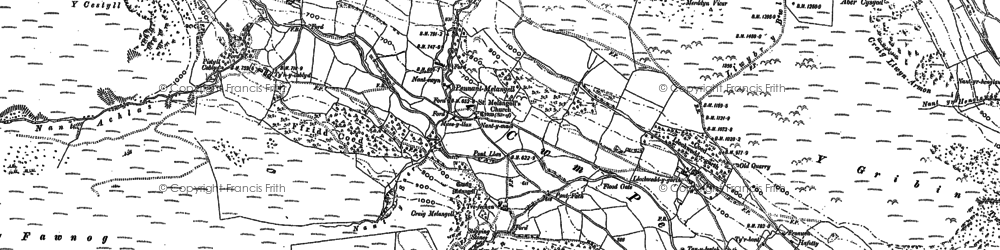 Old map of Afon Tanat in 1900