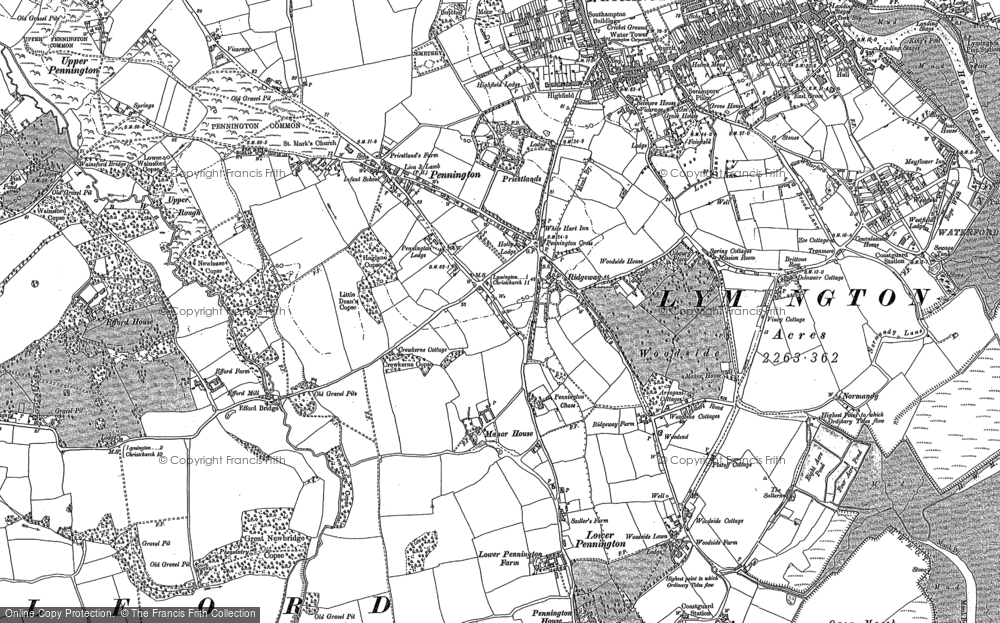 Old Map of Historic Map covering Yaldhurst in 1907