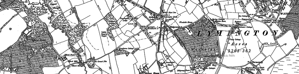 Old map of Yaldhurst in 1907