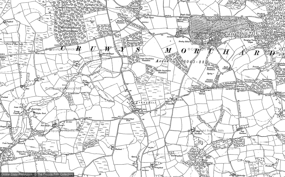 Old Map of Historic Map covering Ash in 1887