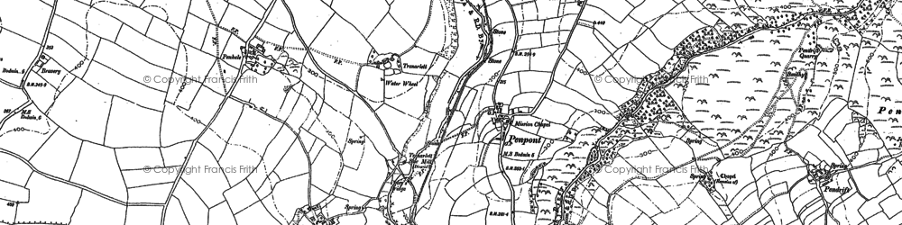 Old map of Penpont in 1880