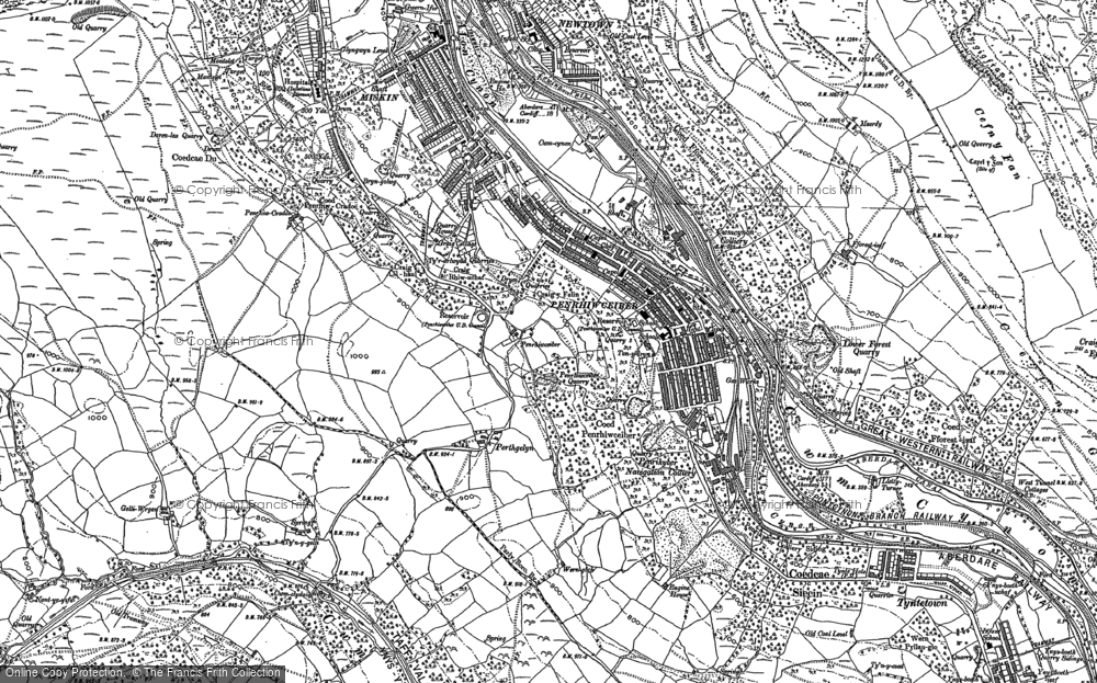 Old Map of Penrhiwceiber, 1898 in 1898